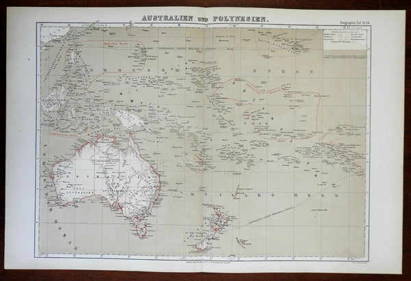 Polynesia Australia New Zealand Hawaii New Guinea 1874 color lithographed map