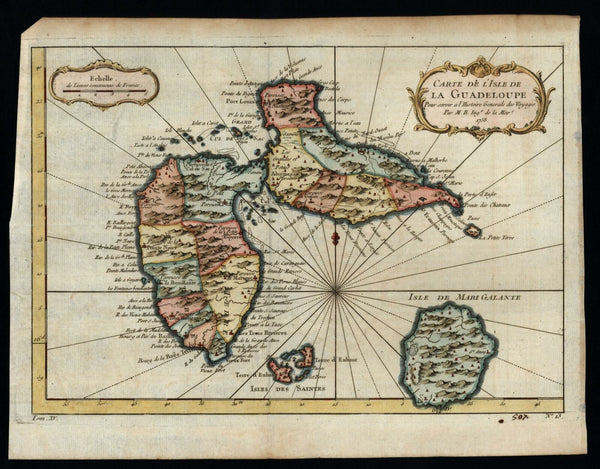 Guadeloupe Island w/ Marie Galante 1759 detailed island map lovely hand color