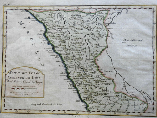 Audience of Peru Spanish Colony Lima Truxillo 1772 detailed Danville map