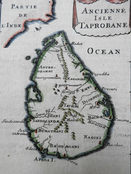 Sri Lanka Ceylon Taprobane Indian Ocean Island 1683 Mallet miniature map