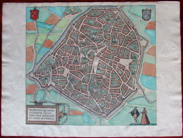 Valenciennes Belgium Northern France c.1580 Braun & Hogenberg large city plan
