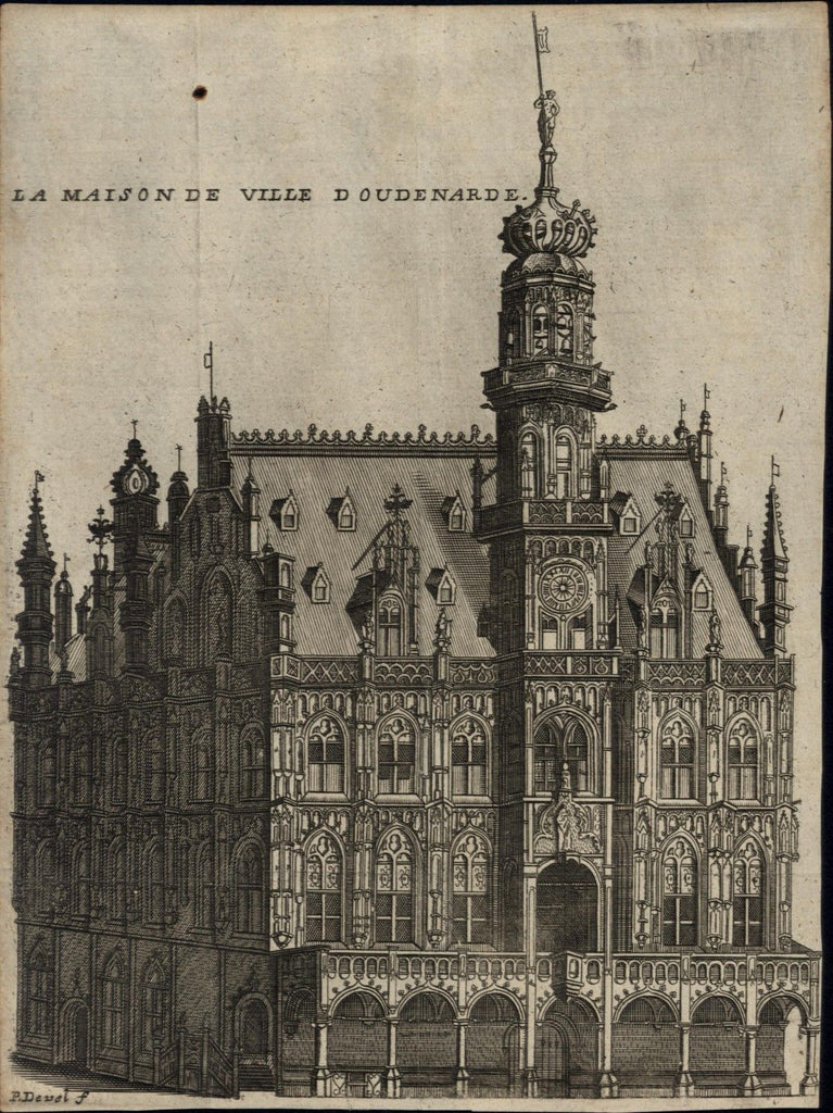 Palace of Oudenaarde Flanders Belgium architecture c.1700 old antique view