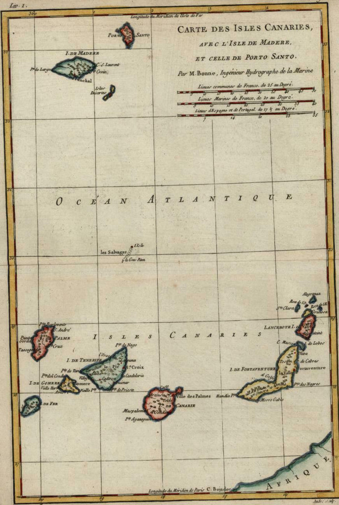 Canary Islands Atlantic ocean Africa coast c.1780 Bonne hand color lovely map