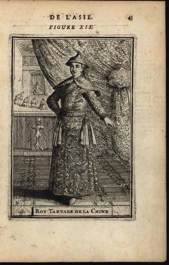 King Tartar of China Regal Elaborate Robes Costume 1683 antique engraved print