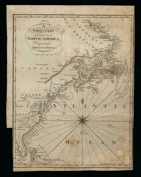 East coast North America 1796 American Callender Malham map Wheat & Brun #58