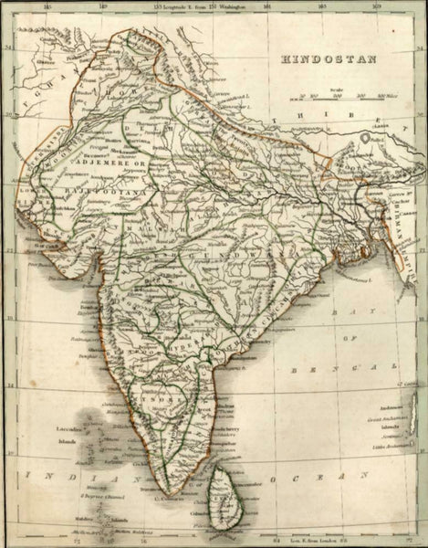 Hindustan Hindostan India Bay of Bengal 1835 Bradford map
