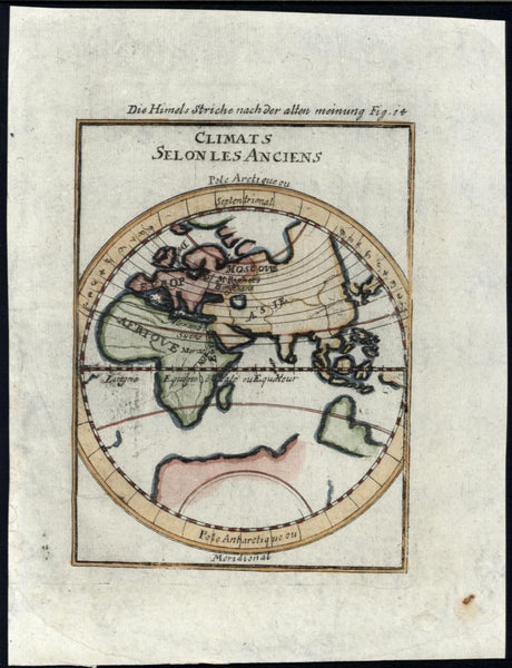 Asia Africa Europe Ancient Climates World 1719 vintage antique Mallet map