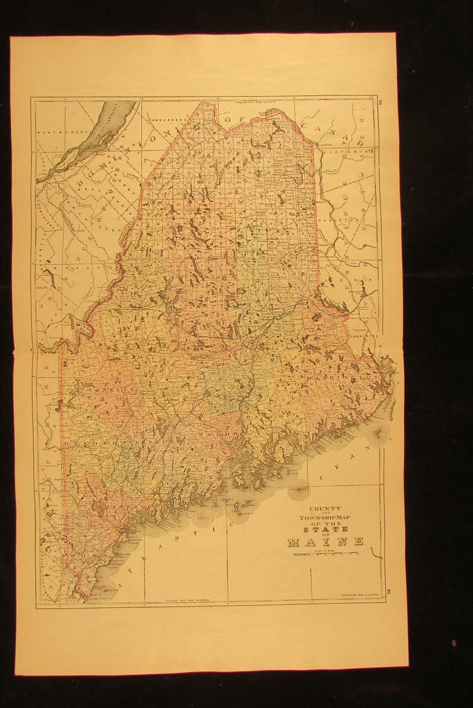 Maine state county & township 1894 fine antique hand colored Wannamaker map