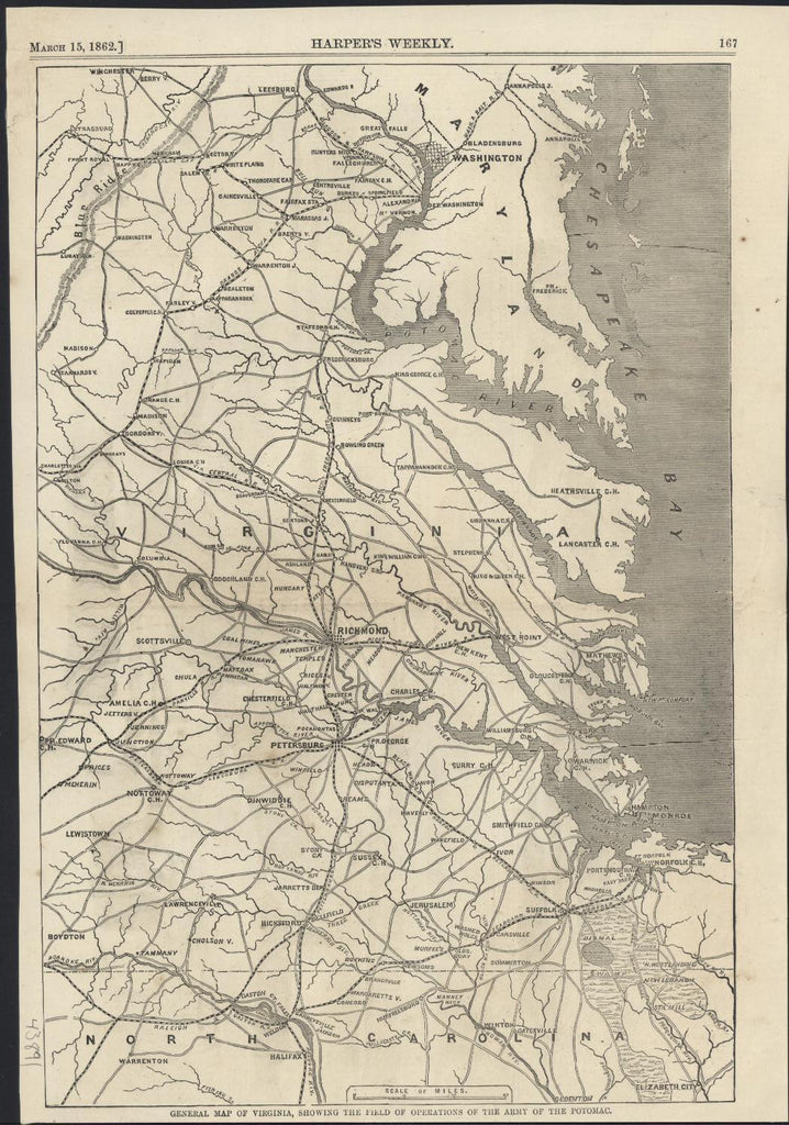 Virginia Army of the Potomac Operations 1862 antique wood engraved map