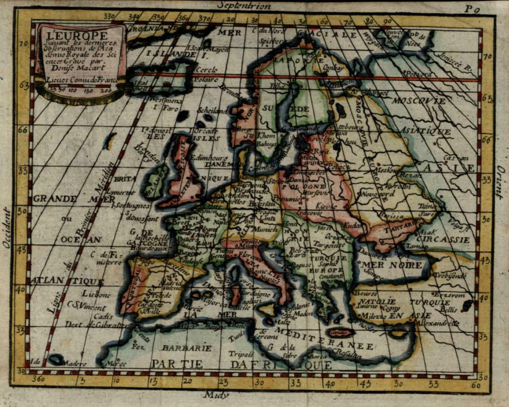 European Continent Frisland? c.1735 Macart miniature engraved map hand color