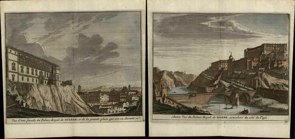 Toledo Spain Royal Palace 1715 Van der Aa lot x 2 antique prints fine hand color