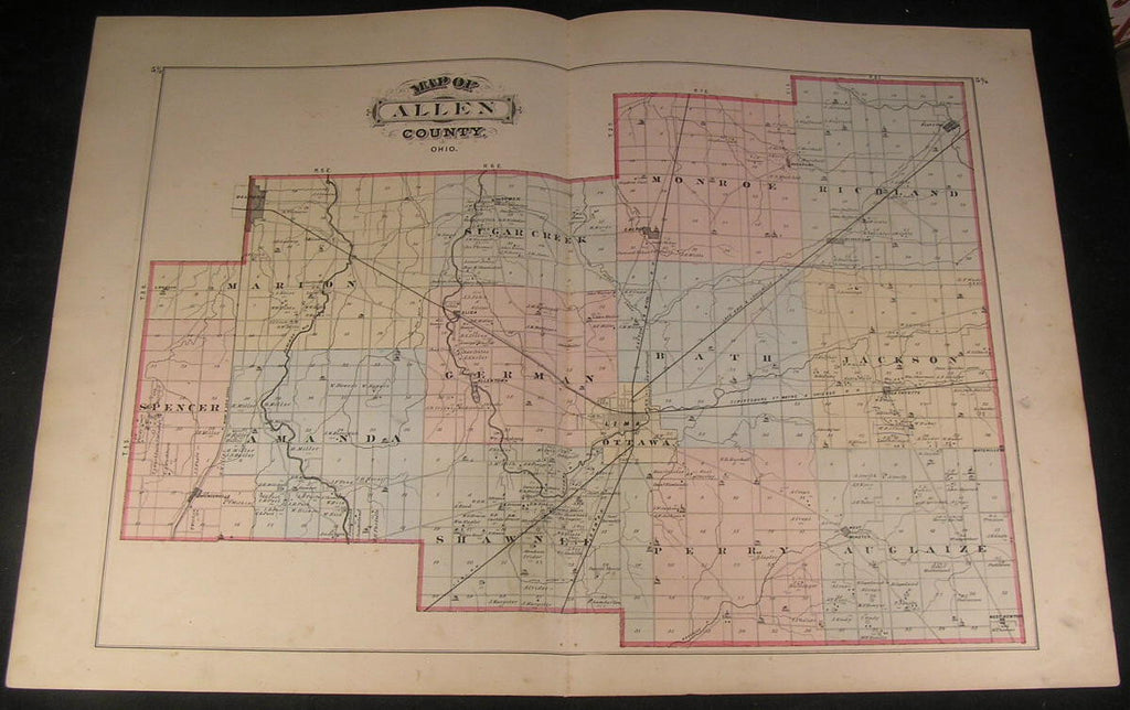 Allen County Ohio Lima Ottawa & Railroads 1875 fine large old hand color map
