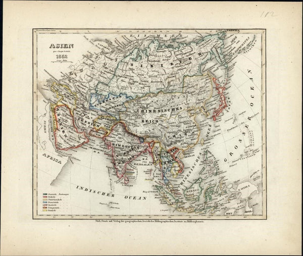 Asia China India Korea Japan Middle East Russia c.1850 Meyer map w/ hand color