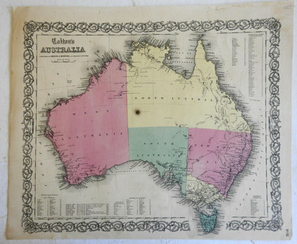 Australia New South Wales Van Diemen's Land 1855 Colton Johnson & Browning map