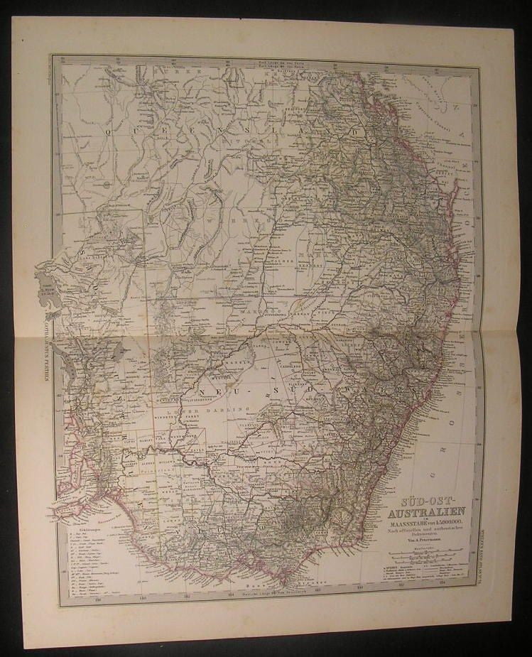 South East Australia 1881 Stieler very detailed antique color map
