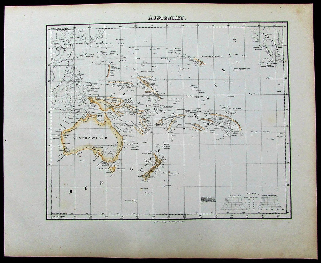 Australia New Zealand Oceania Pacific Isles 1852 Flemming old antique color map