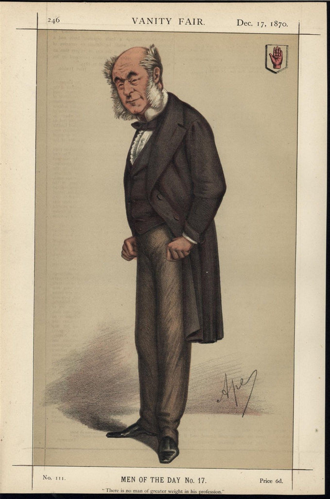 Sir William Fergusson Surgeon Scotland 1870 Vanity Fair old color print