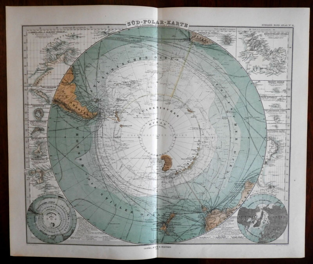 South Pole w/ extensive detailed Exploration Expeditions 1875 Stieler map