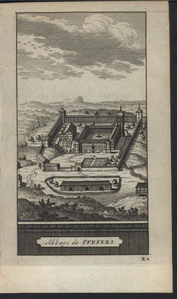 Abbey of Pfefers Switzerland 1714 antique van der Aa fine view print