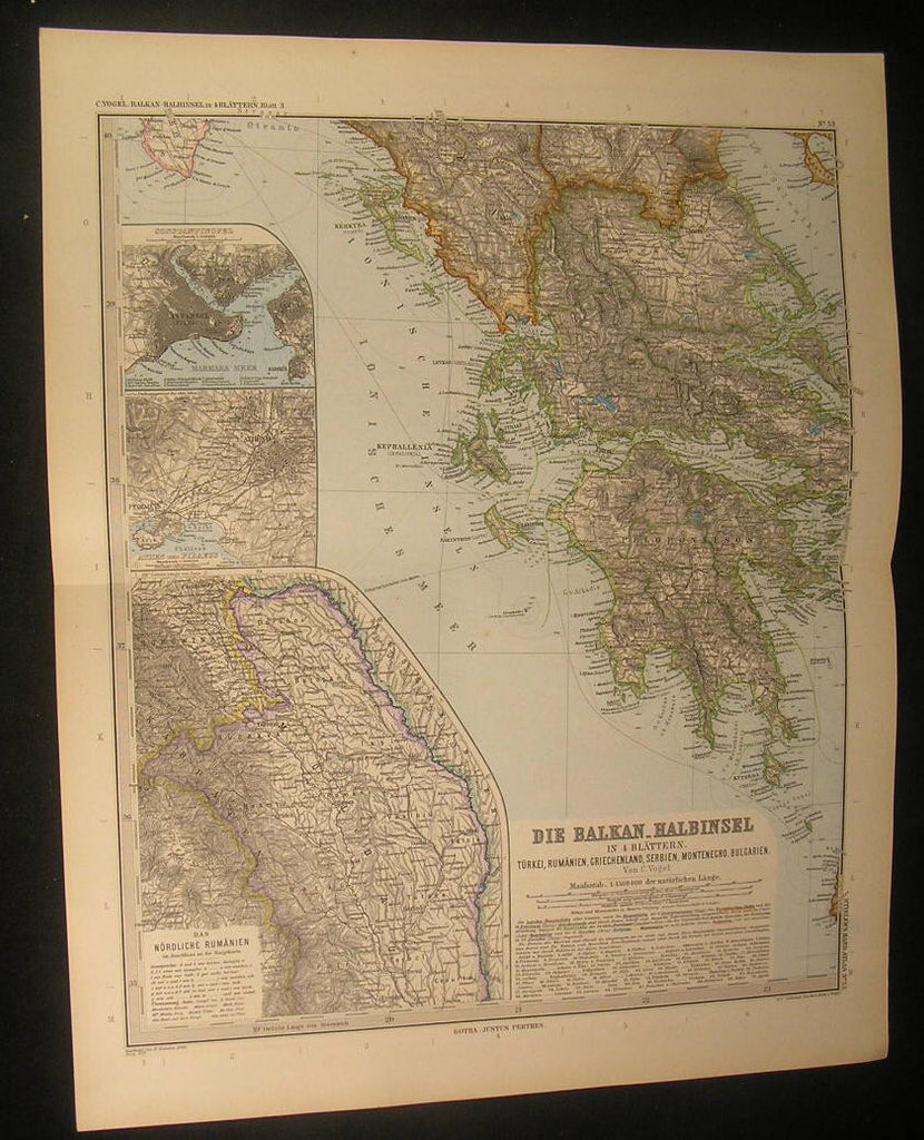 Balkans Greece Peloponnese Peninsula Athens 1890 antique engraved color map