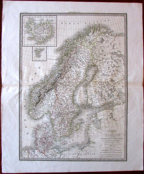 Scandinavia Iceland Denmark Norway Sweden c.1830 Lapie large lovely old map