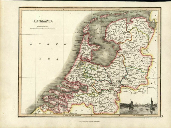 Holland Netherlands Utrecht Haarlem w/ Amsterdam view 1819 Thomson Hewitt map