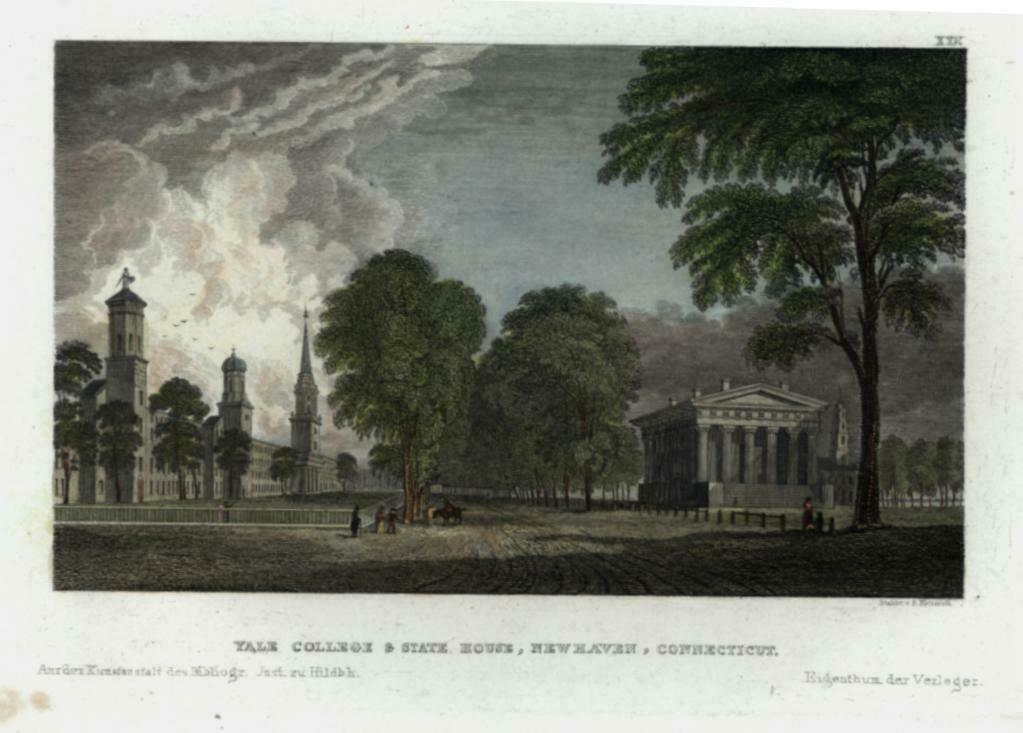 Yale College New Haven CT c.1850 engraved print campus view beautiful hand color