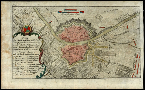 Dresden Germany city plan 1759 ornate decorative map Elbe river