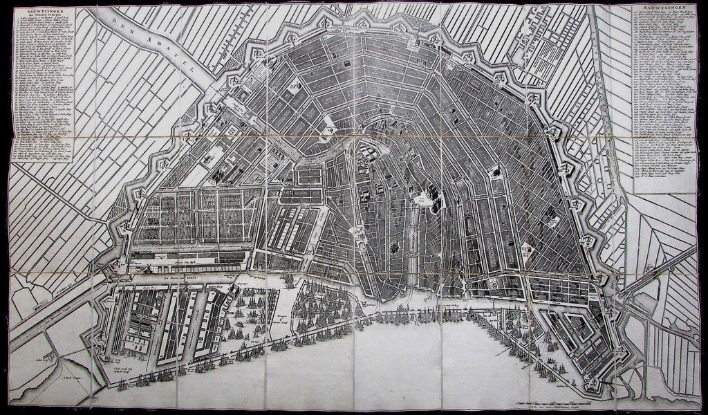 Amsterdam Holland Netherlands 1814 Mortier Visscher linen city plan map case