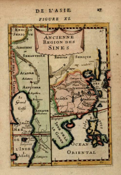 Ancient China Southeast Asia Philippines Ganges River 1683 Mallet miniature map