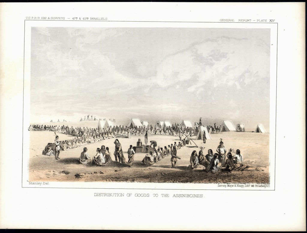 Assiniboines Indian Campground Tents Wagons c. 1855 original antique view print