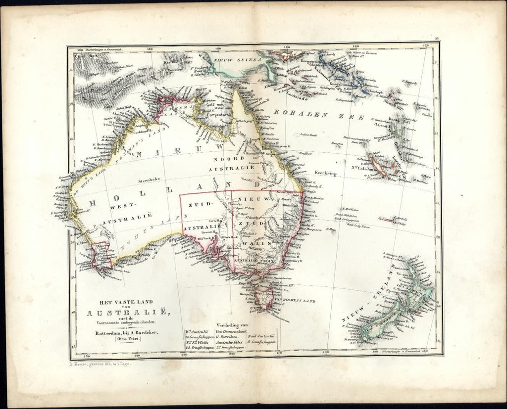 Australia New Zealand Pacific 1844 rare Adolph Baedeker Petri engraved Dutch map