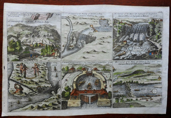 Waterfalls & Canals of Europe Switzerland Italy 1711 engraved print hand color