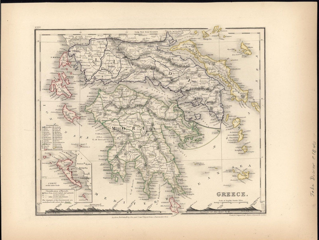 Greece c.1840 Dower fine old vintage antique map Mt. Heights