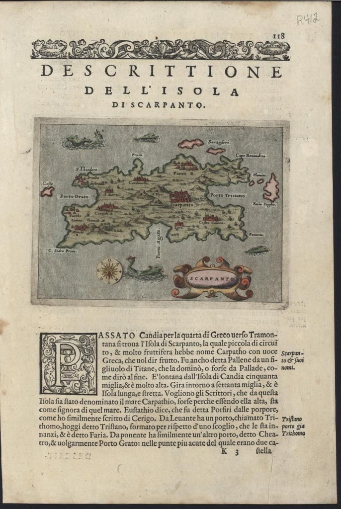 Karpathos Scarpanto Greek Island 1576 Porcacchi antique map w/ sea monsters