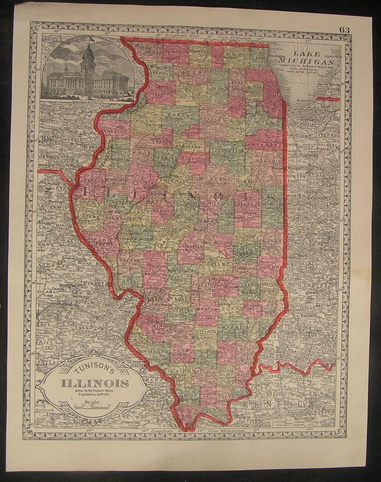 Illinois 1885 fine old vintage antique Tunison hand colored map