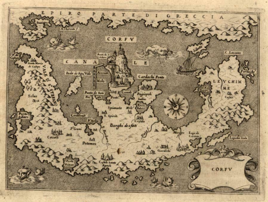 Corfu Greece Porcacchi 1576 sea monsters map