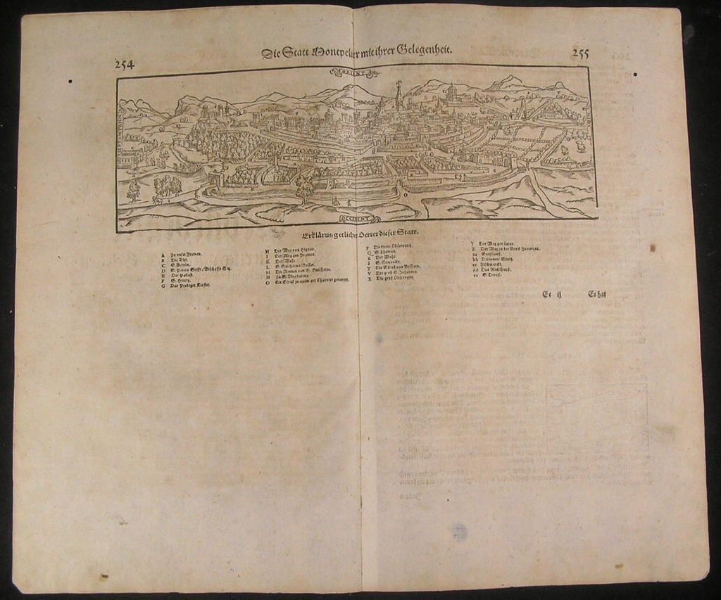 Montpellier Southern France 1628 antique wood engraved city plan