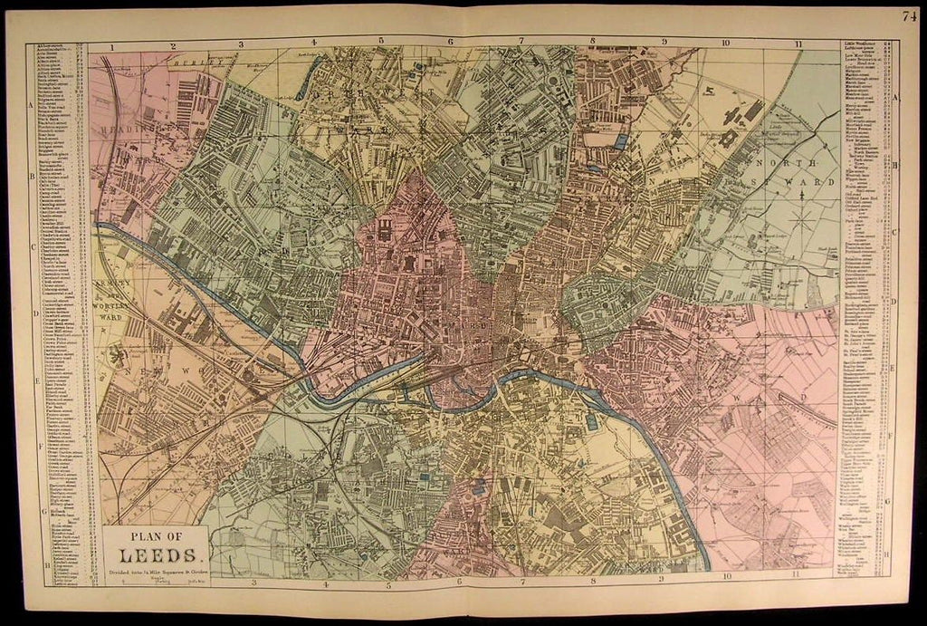 Leeds City Plan United Kingdom England c. 1880 antique detailed map