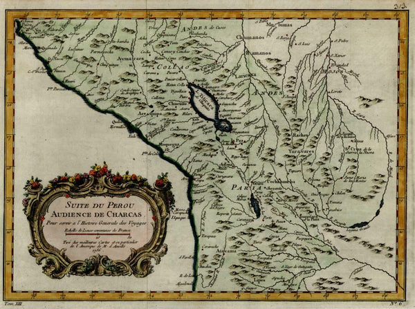 Southern Peru New Spain Spanish Colonialism la Paz 1756 Bellin decorative map
