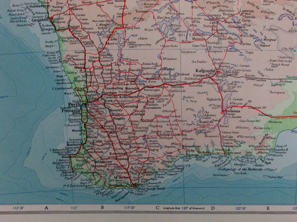 Western Australia Perth Fremantle environs topography 1959 vintage map