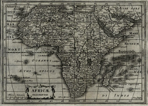 African continent 1628 Johannes Janssonius A. Goos miniature map