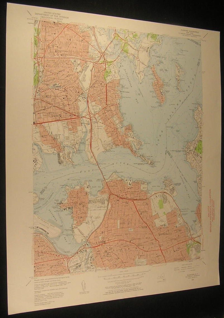 Flushing New York Ricker Island Channel 1957 antique color lithograph map