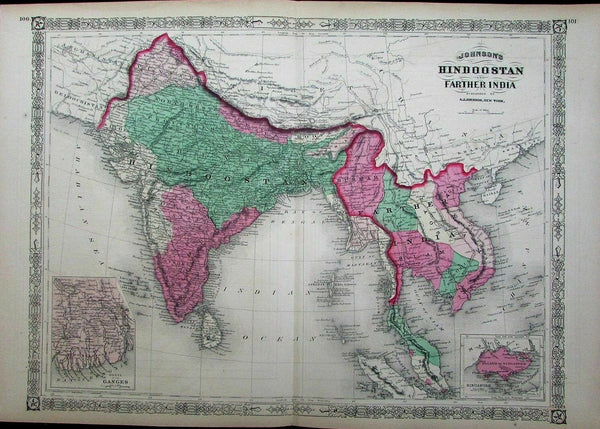India Southeast Asia Siam Singapore island inset Tonquin 1867 Johnson large map