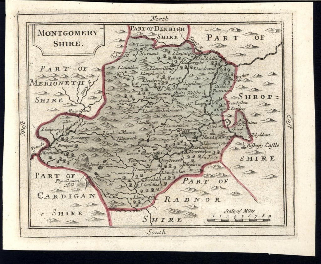 Montgomeryshire England U.K. County c. 1783 old engraved hand color map