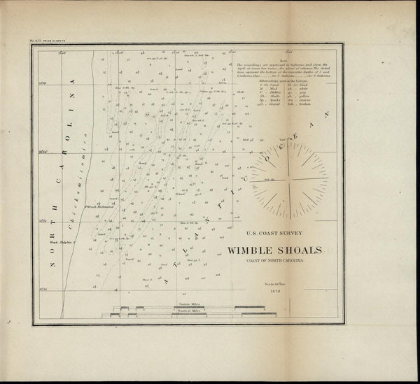 Wimble Shoals North Carolina Coast 1870 U.S.C.S. old nautical chart
