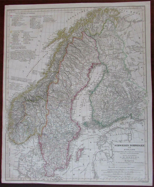 Sweden Norway Finland Scandinavia 1855 Koehler Hinrich uncommon folio map