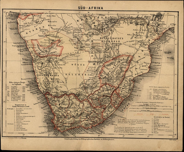 South Africa Orange River Free State c.1867 detailed German map