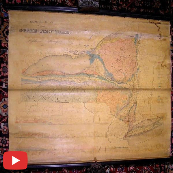 New York State Legislature Geological Map rare 1842 antique wall map Marcou #239-