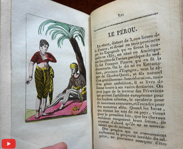 World Ethnography & Dress Book 1821 rare book w/ 12 hand color costume plates